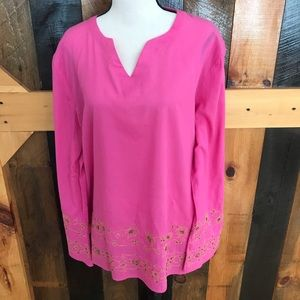 Susan Bristol cotton tunic with gold embroidery